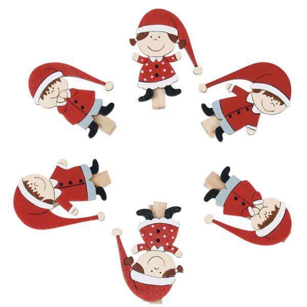 Mini-Klammern Weihnachtswichtel, rot