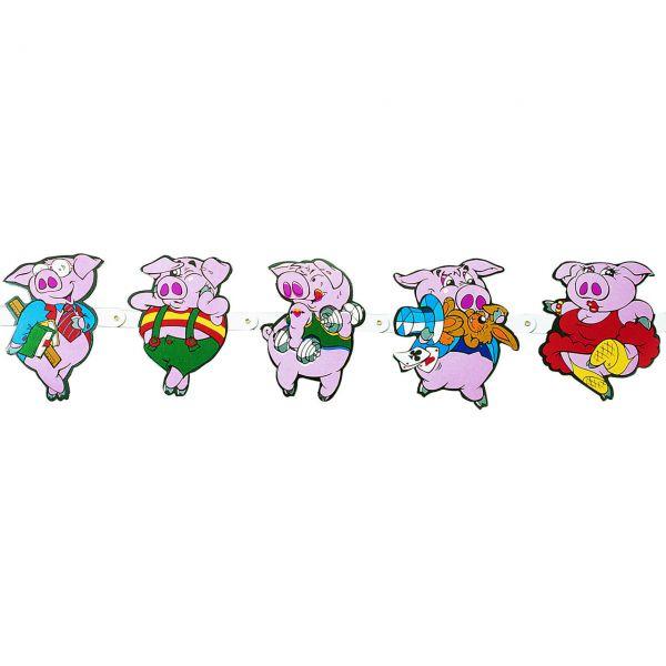 Figuren-Girlande lustige Schweine, bunt
