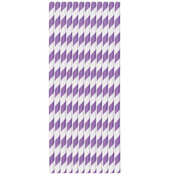 Papier Trinkhalme 0,6 x 20cm, Streifen lila-weiß