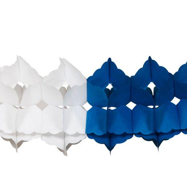 Maxi Girlande, 10m, weiß-blau