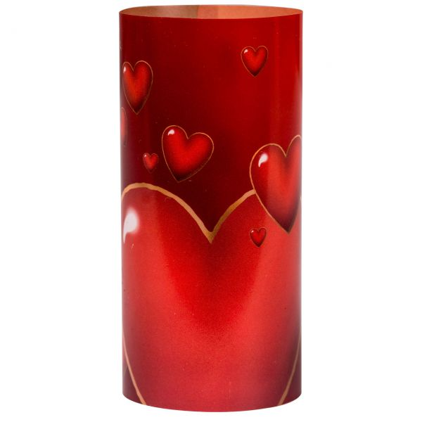 Windlicht Herzen, rot