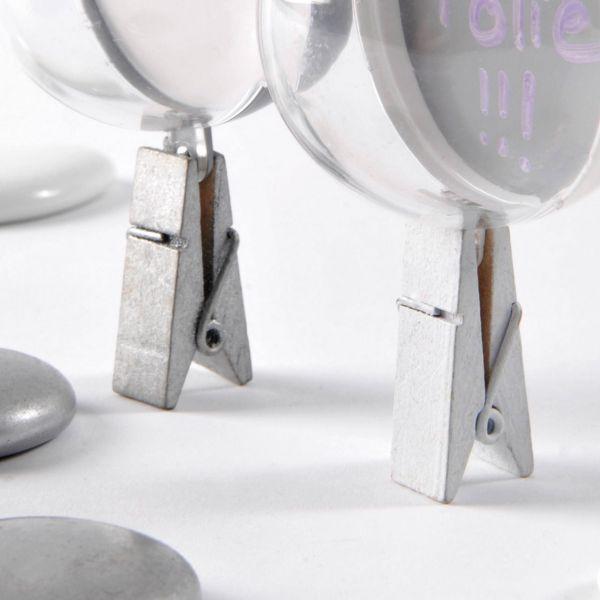 Tischkartenhalter Deko-Klammer, breit, silber