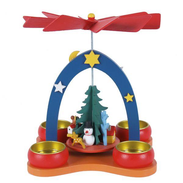 Weihnachts-Pyramide Kindermotiv mit Teelichthalter