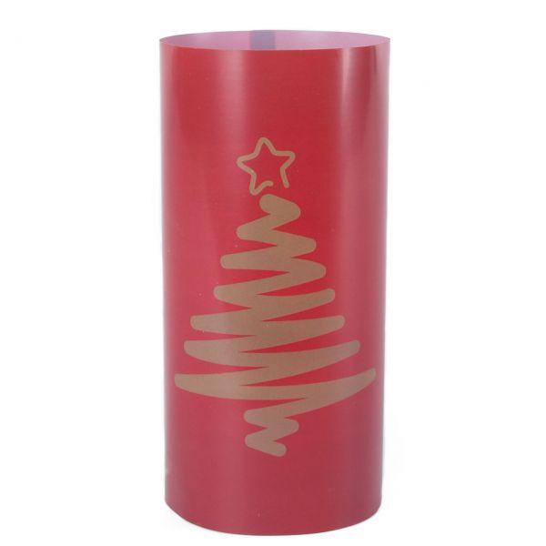 Windlicht Tannenbaum, rot-gold