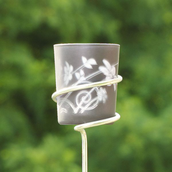 Teelichtgläser, 2er-Set, Blüten, matt