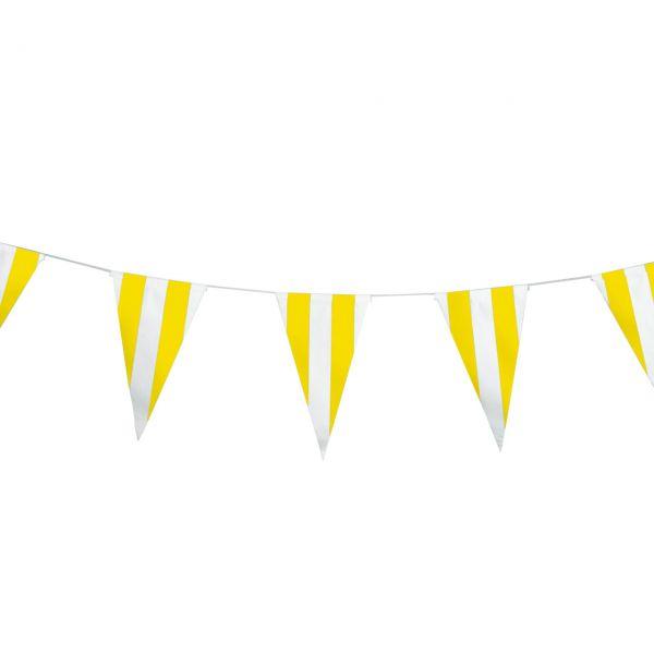 Papier Wimpelkette, gelb-weiß