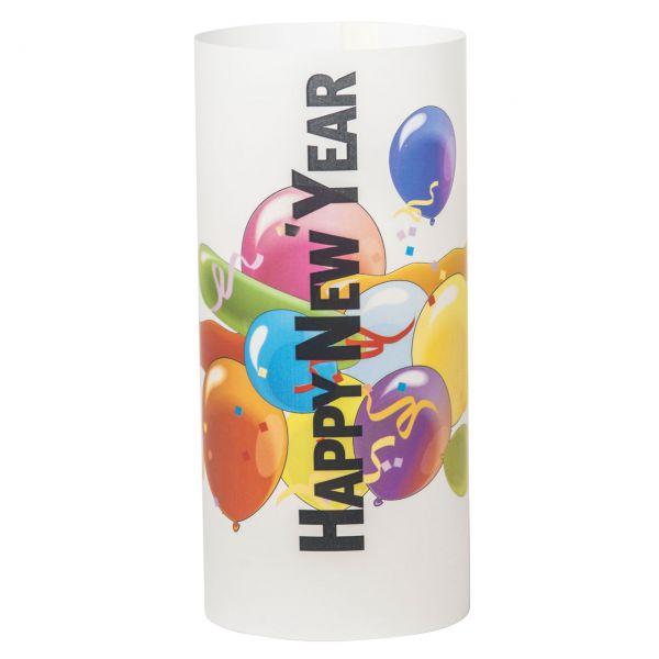 Windlicht Happy New Year Ballons, bunt