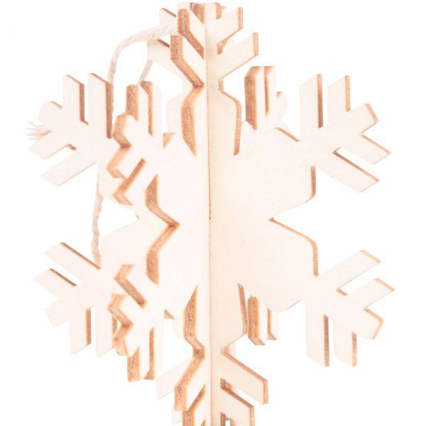 Anhänger, Holz gelasert, 3D Schneeflocke B