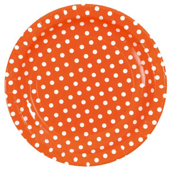 Pappteller weiße Punkte, orange