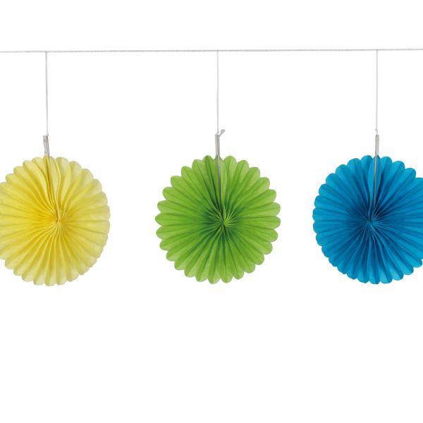 Deko-Fächer-Set, grün, gelb, blau