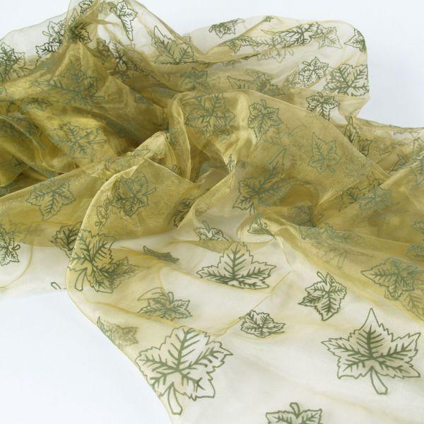 Organza Blätter, grün auf khaki, beflockt