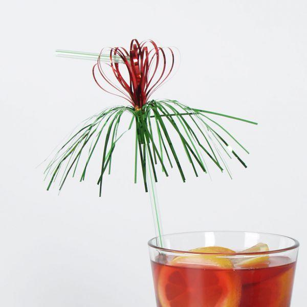 Knick-Strohhalm Blume & Palme, metallic-bunt