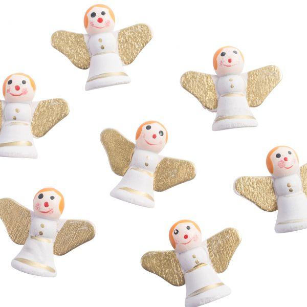 Streukonfetti Mini-Engel, weiß-gold