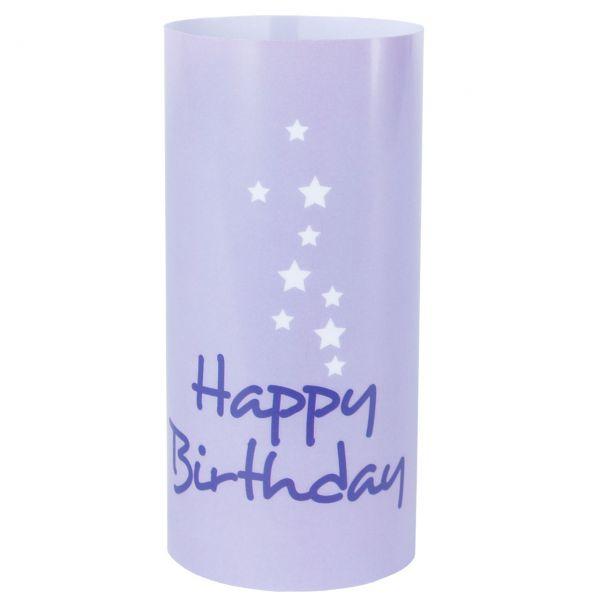 Windlicht Happy Birthday Sterne, lila