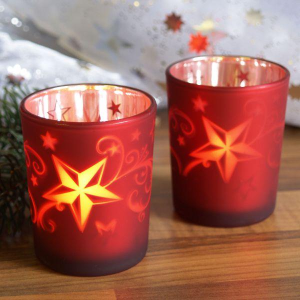Teelichtgläser Sterne, rot-silber