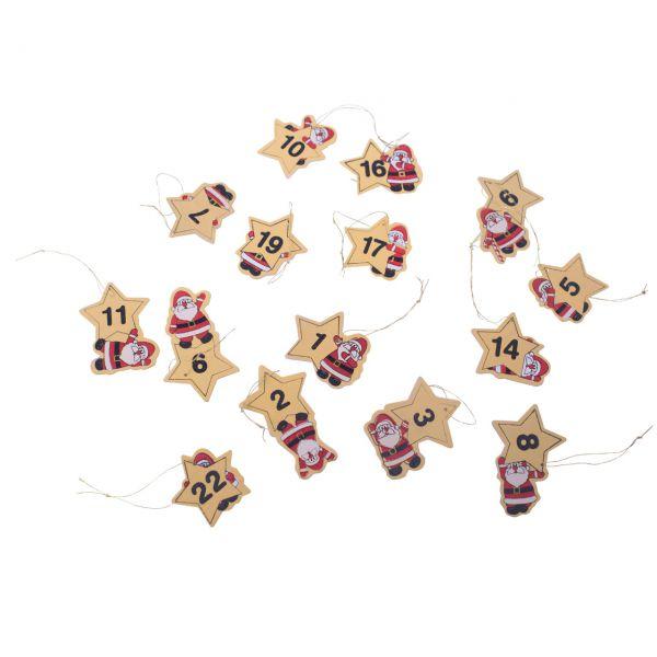 24 Holzanhänger für Adventskalender Weihnachtsmann rot-gold