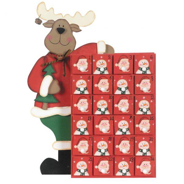 Adventskalender Elch mit 24 kleinen Schubladen Holz