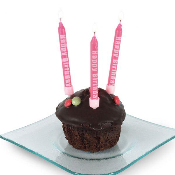 Geburtstagskerzen Happy Birthday mit Halter, rosa-weiß
