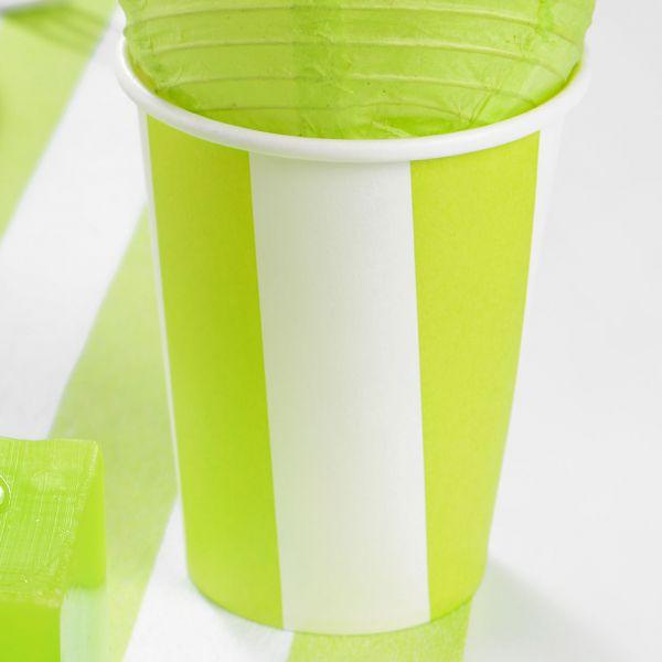 Papp-Trinkbecher weiße Streifen, grün