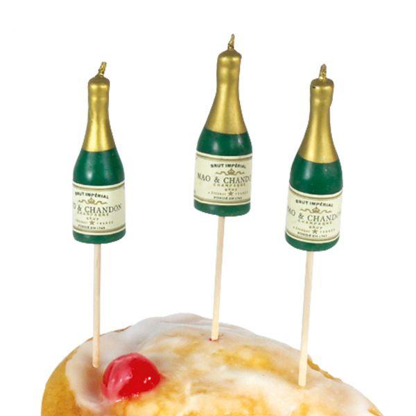 Partykerzen auf Picker Champagner Flasche, grün-gold