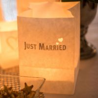 Lichtertüten Just Married mit Herzen, silber Länge: 7,5, Breite: 7,5, Höhe: 9,5cm