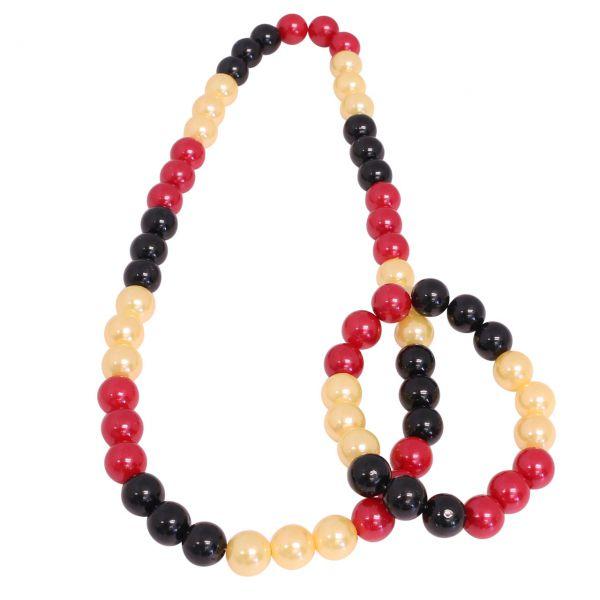 Perlenkette und Perlenarmband Deutschland, schwarz-rot-gold
