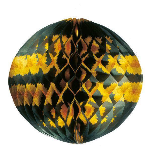 Wabenball 30cm, grün, gelbe Blumen