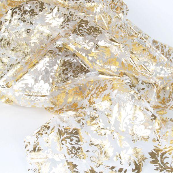 Organza Blumen, gold und silber, auf weiß