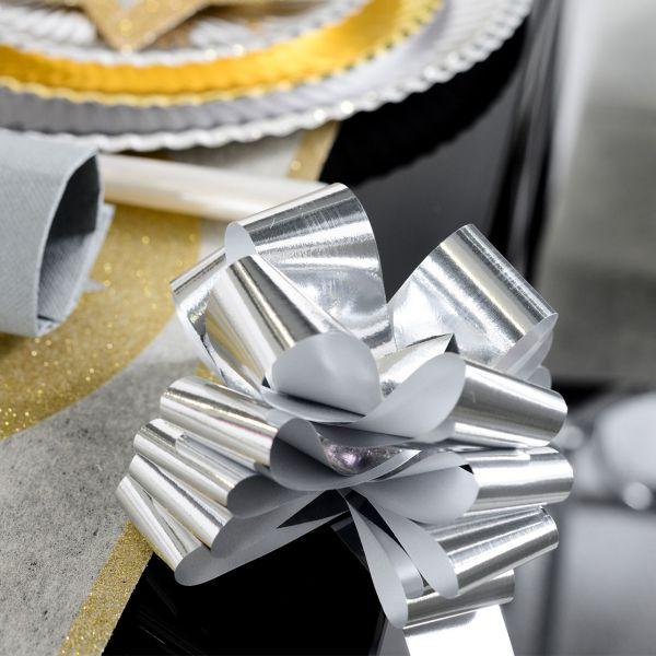 Automatik Ziehschleife XL, metallic-silber