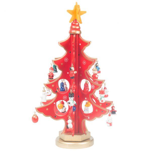 Deko-Christbaum mit Mini-Figuren drehbar, rot