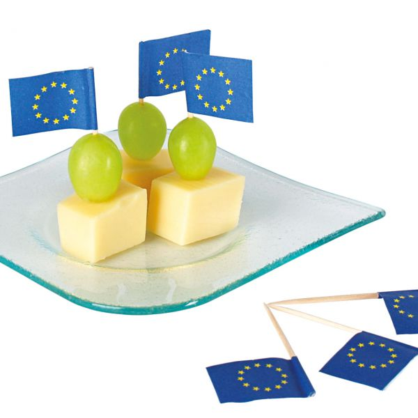 Party Picker Flagge Europa, blau-gelb