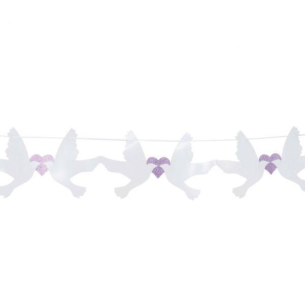 Girlande Taube mit Glitzerherzen, weiß-lila