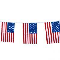 Flaggenkette USA wetterfest, weiß-blau-rot