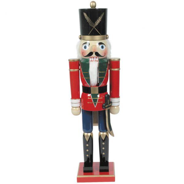 Nussknacker Soldat XXL 80cm, rot-blau
