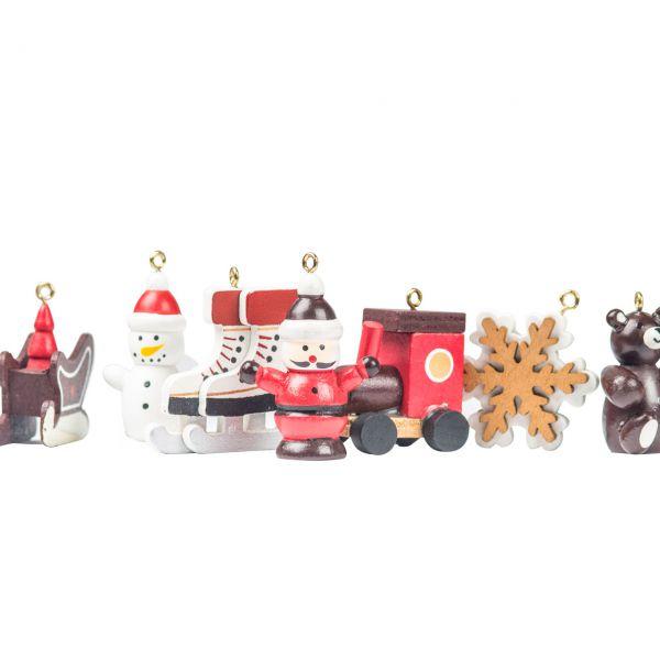 Anhänger weihnachtliche Figuren, Holz rot-weiß-gold