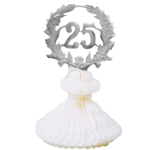 Tischdekoration 25 Jahre, weiß-silber