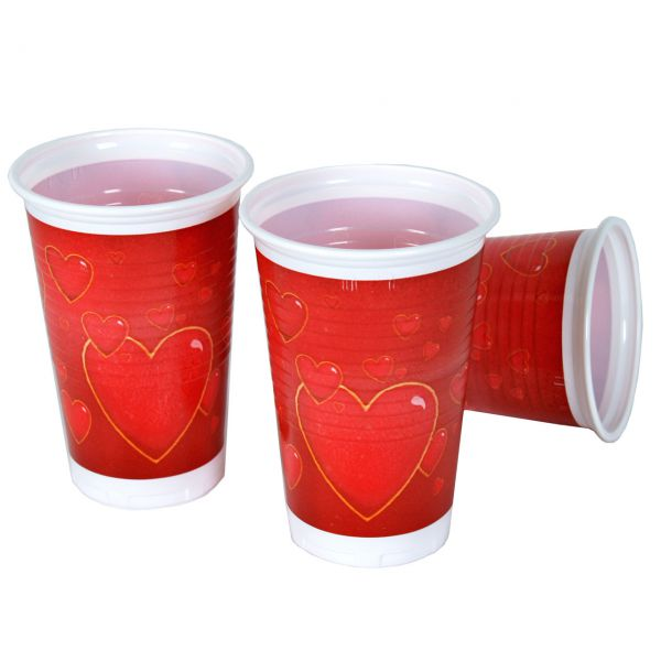 Kunststoff Trinkbecher Herz, rot-gold