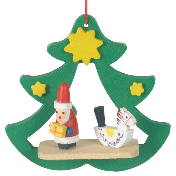 Anhänger Tannenbaum offen, Weihnachtsmann, Holz farbig