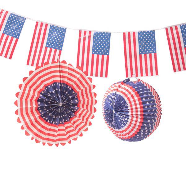 Deko-Set USA, weiß-blau-rot