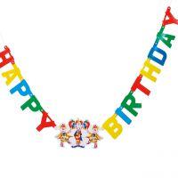 Girlande Happy Birthday mit LED Blinklicht, bunt