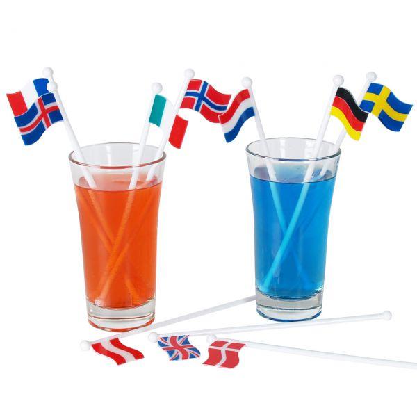 Rührstäbe Flagge versch. Nationen, bunt gemischt