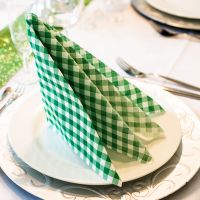 Einweg Serviette Baumwolle, Country grün-weiß