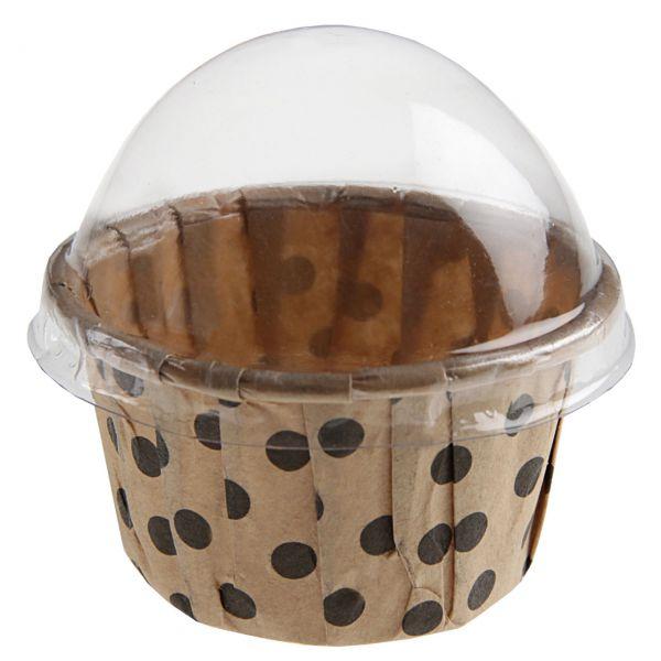 Gastgeschenk Muffinförmchen gepunktet, braun-schwarz