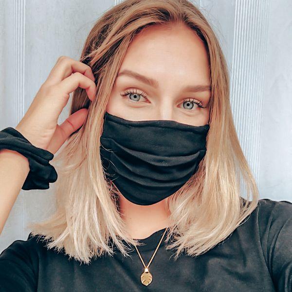 """Maske + Scrunchie """"NIGHT"""", schwarz"""