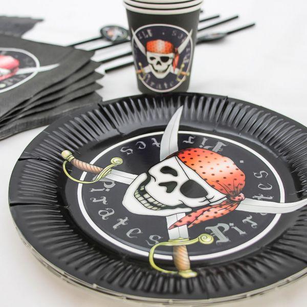 Pappteller Piraten, schwarz-rot