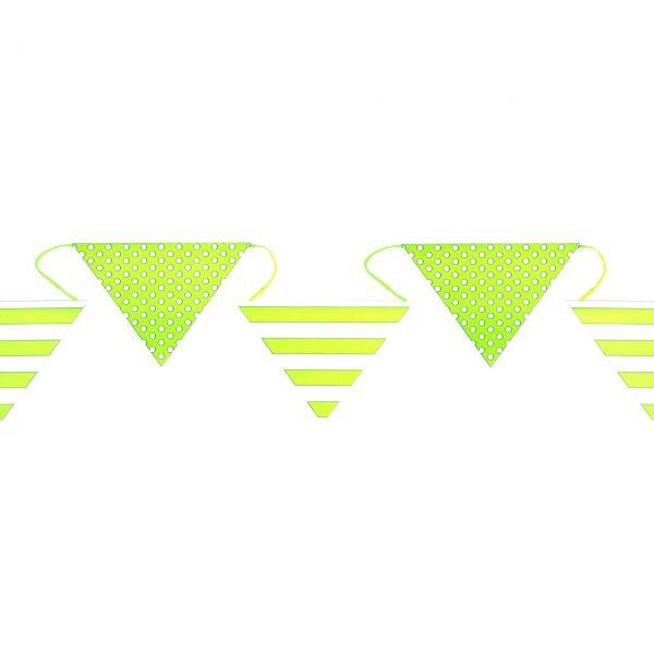 Wimpelkette weiße Punkte & Streifen, 6m, grün
