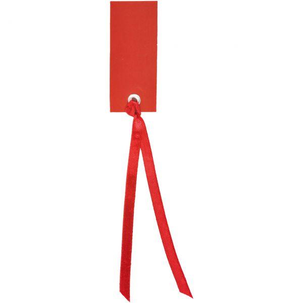 Tischkarte Namensschild an Satinband, rot