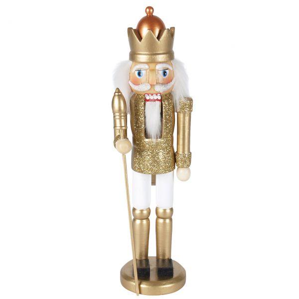Nussknacker König 25cm, gold-weiß