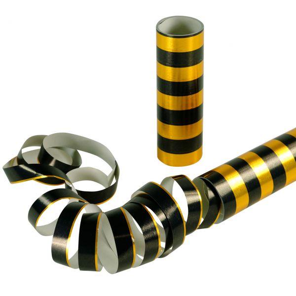 Luftschlangen metallic, schwarz-gold