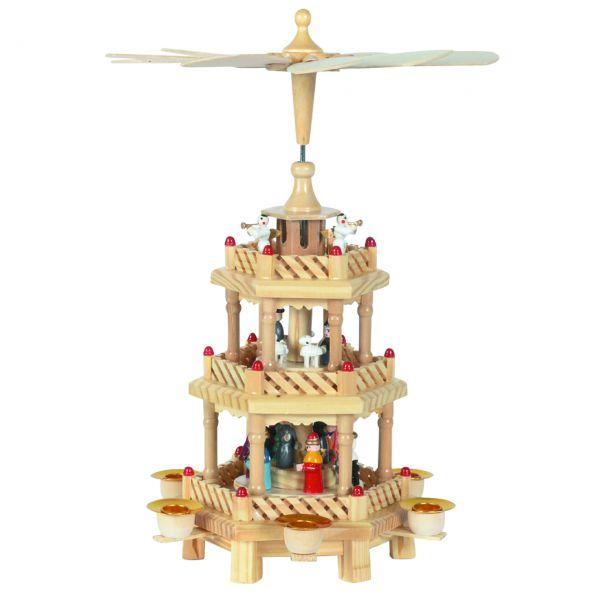 Weihnachts-Pyramide Krippe 3 Etagen, natur-farbig